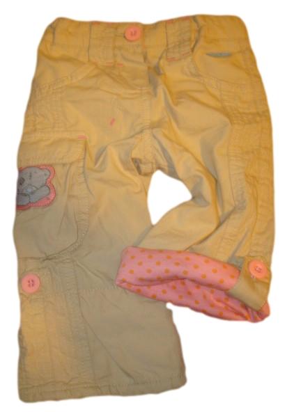 Plátěné roll up kalhoty vel. 74,80 béžové s růžovou