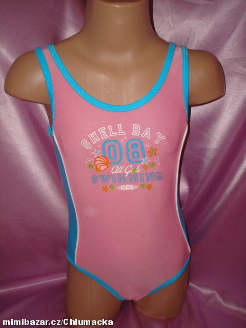 Jednodílné dívčí plavky vel. 92, 116 růžové