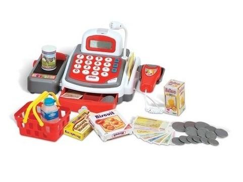 Dětská pokladna s příslušenstvím bíločervená