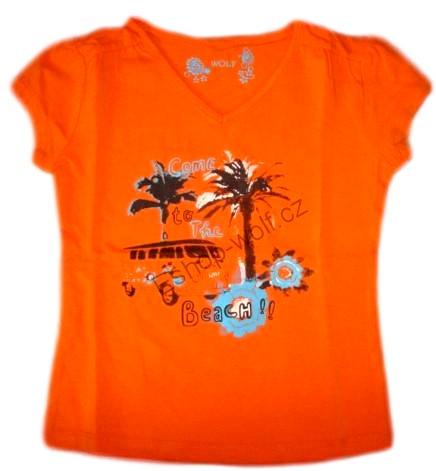Tričko Wolf vel. 98,116,122 (s palmou) oranžové